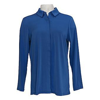 Susan Graver Women's Top Liquid Knit Button-Front Shirt Azul A346353