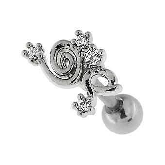 زهرة حلزونية مع CZ الحجر 16 قياس 316L الجراحية الغضروف الصلب الحلزون Tragus ثقب المجوهرات