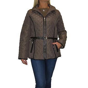 kvinner pluss størrelse vattert vinter jakke med hette damer lett frakk med belte 12-22