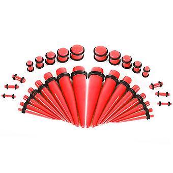 36 Kappaletta punaista uv-hehkua tumman korvan venyttelysarjan kartioissa pistokkeilla 14g - 00g