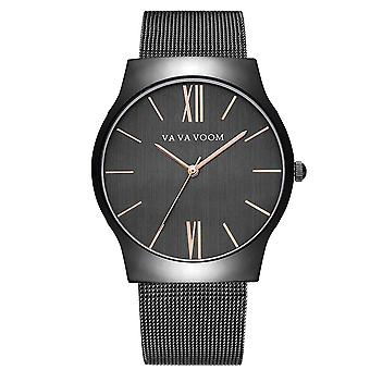 VA VA VOOM 8001 Mænd Business Quartz Watch rustfrit stål Strap Big Casual