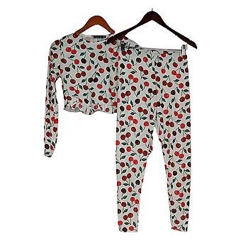 Boohoo Women's Pajama Set Cherry Printed 2 Piece Set White