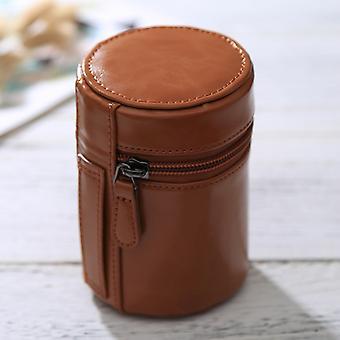 Petite boîte zippée de pochette en cuir pu de lentille pour l'objectif d'appareil-photo de DSLR, taille : 11x8x8cm (brun)