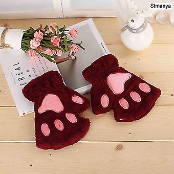 New Women Cute Cat Claw Paw Plush Mittens Warm Soft Short Fingerless Fluffy
