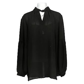Laurie Felt Women's Plus Top Woven W/ Keyhole Détail Noir A301673