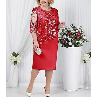 Plus-koko äiti morsian mekot puolihihainen muodollinen hääjuhla puku