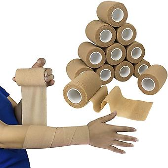 Self Adherent Wrap - Bulk Pack of 12, Athletic Tape Rolls and Sports Wraps