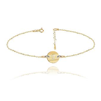 Ah! Jewellery 24K Gold Vermeil Over Sterling Silver Engraved Initial Bracelet, 3cm Heart Extension Included