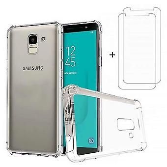 Samsung galaxy j6 case, dygg case soft tpu silicon transparent shockproof bumper with [2*tempered gl