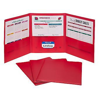 3-Pocket Poly Portfolio, Red, Box Of 24