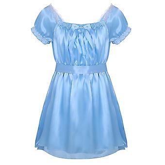 Men Nightwear, Underwear Square Neckline Shiny Soft Satin Design Crossdress,