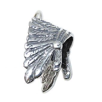 Native American Headdress Sterling Silver Charm .925 War Bonnet Charms - 8759