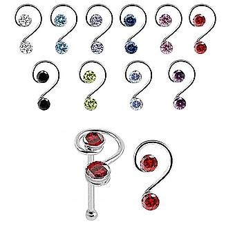 Red Color 925 Sterling Silver Double Jeweled Curly Design Nose Bone Stud in Box