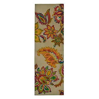 Spura Home Hand Dip dye Felt Floral Embroidery Transitional Runner 2x5 Rug
