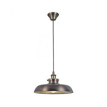 Lámpara Colgante Vintage, Acero Y Vidrio, Bronce.