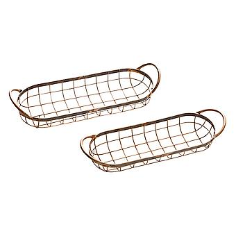 Set of 2 Weathered Copper Finish Oval Wire Serving Trays