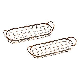 Conjunto de 2 bandejas de servicio de alambre ovalado de acabado de cobre desgastado