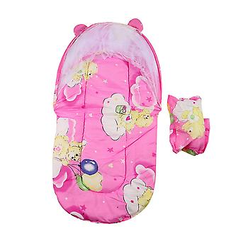Foldable Baby Cotton Padded Mattress Pillow Bed With Mosquito Net Tent