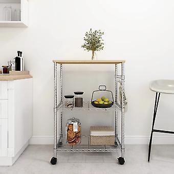 3-tier Kitchen Cart 61x36x85 Cm Chromed Iron