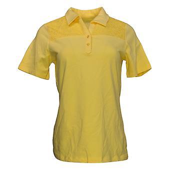 Denim & Co. Women's Jersey (XXS) com Polo Collar Amarelo A351570