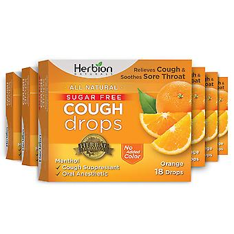Herbion Naturals Sugar Free Cough Drops with Natural Orange Flavor – 18Ct (Pack of 6)