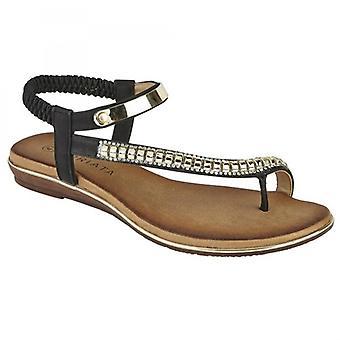 Cipriata Iris señoras abiertas sandalias de punta negra