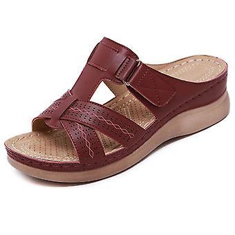 Women Wedge Sandals Premium Orthopedic Open Toe Sandals Vintage Anti-slip Leather Casual Female Platform Retro Shoes