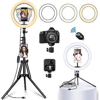 """HanFei LED Ringlicht mit Stativ Handy, 12"""" Selfie Ringleuchte mit Fernbedienung und Doppel"""
