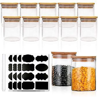 FengChun Gewrzdosen Set mit Deckel -Gewrze Aufbewahrung Vorratsglser mit Hochwertigem Holzdeckel aus