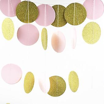 Juhlakoristeet, Glitter Circle Polka Vaaleanpunainen Valkoinen Kulta piste.