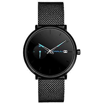 SUPBRO Minimalist quartz thin men's watches with black mesh strap(9)