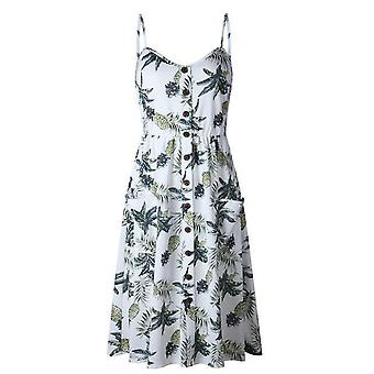 Sexy V-Neck Sleeveless Print Floral Long Summer Dress