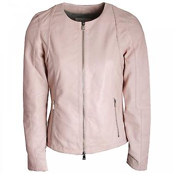 Oui Ladies Round Neck Leather Jacket