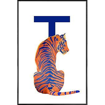 JUNIQE Print - T Tiger - Tiger Affisch i blått & orange