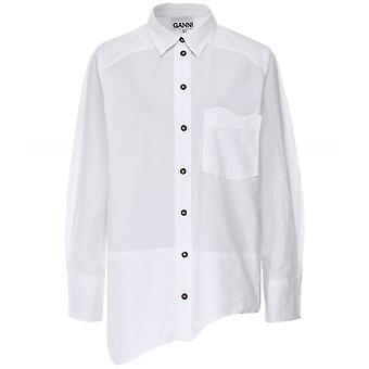 GANNI Organic Cotton Asymmetrical Wavy Shirt