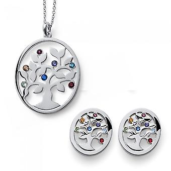 Develop Set Rhodium Necklace And Earring