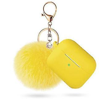 Προστατευτική περίπτωση pods αέρα με την κλειδοθήκη και pompom (κίτρινο)