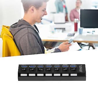 7 Ports Abs Usb 3.0 Hub mit Ein / Aus-Schalter Eu-Stecker Ac Power Adapter + Kabel