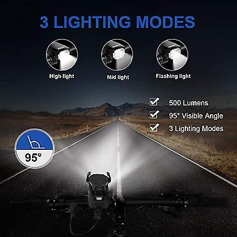 Rechargeable Usb Bike Lamp, 550 Lumen Powerful Led Velo Lamp With Alarm And Phone Holder, Rechargeable Headlamp(blue)