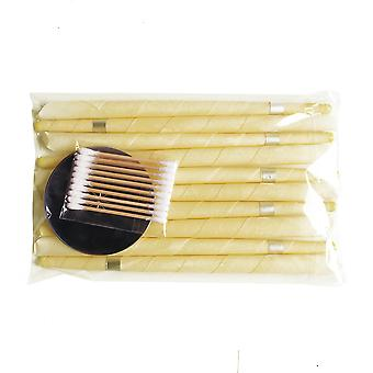 Ear Care Tools Set 10pcs Aromatherapy Ear Wax Remover 5pcs Horn Earplug Tray 10pcs Cotton Sticks Earwax Candles Ear Candle Beewax