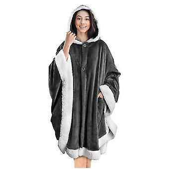 Angel Wrap-around Hooded Cloak | Poncho Zachte Sherpa Wol Fleece Deken Warme Capuchon Met Pocket (Grijs)