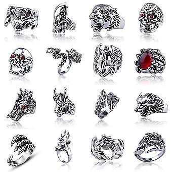 16db Punk Ring Set Cool geometria ötvözött ujj gyűrű az ember
