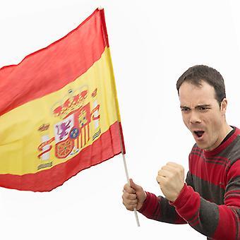 Spansk flagga med (90 x 60 cm)