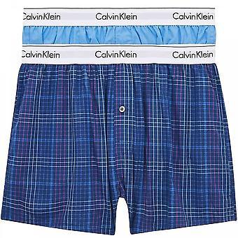 Calvin Klein Modern Cotton Slim Fit Woven Boxer 2er Pack, Blue Burst/Somerset Plaid, Groß