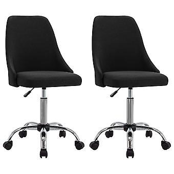 vidaXL مكتب الكراسي 2 PCS. النسيج الأسود