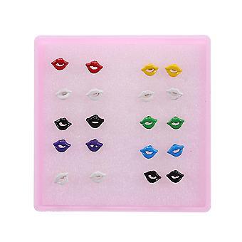 12 Paires Ear Studs Set Glazed Surface Square Lip Stud Boucles d'oreilles pour une utilisation quotidienne