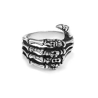 Men's Stainless Steel Ring Band Silver Tone Black Skull Hand Bone(12)