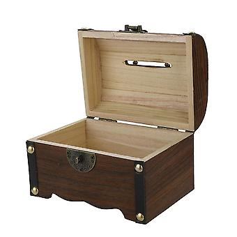 جديد خشبي الخنزير بنك صندوق المال الآمن المدخرات مع قفل