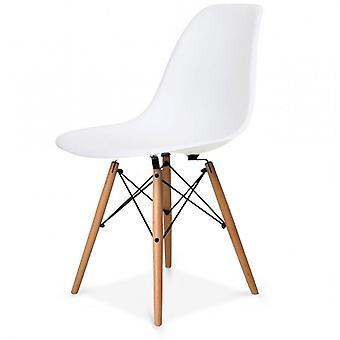 Fusion Living Eiffel -innoittama setti – suuri valkoinen pyöreä ruokapöytä pyökkipuujaloilla kuudella tuolilla - eri värejä