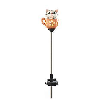 Summerfield Terrace Solar Lighted Garden Stake - Kitten in a Tea Cup, Pack of 1